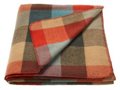 L.L. Bean Washable Wool Blanket in Mineral Blue