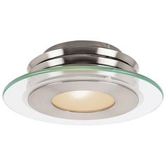 Check out the Access Lighting 50480-BS-CFR Helius 1 Light Clear/Center Frosted Ring Glass Flush Mount in Brushed Steel priced at $184.00 at Homeclick.com.