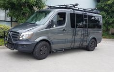 Awesome Mercedes Sprinter Van loaded with Aluminess gear! Roof rack, ladder, surf pole, nerf bar and light bar!