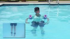 Pool Exercises in the Deep End, Aquatic Therapy - Doctor Jo shows you some deep water exercises for aquatic therapy in a pool that includes traction for your back. For more physical therapy videos or to Ask Doctor Jo a question, visit http://www.AskDoctorJo.com
