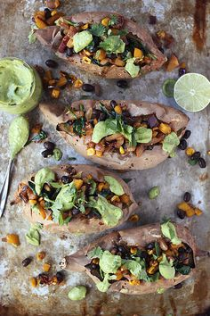 Spicy Southwest Loaded Sweet Potatoes with Cilantro Lime Avocado Cream | Tasty Yummies