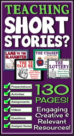 This short story unit is perfect for any late middle or high school English classroom. The stories have been used in my class with great success, and the students especially love the surprising endings in each story! The product includes eye-catching presentations, discussions, videos, and creative assessments.