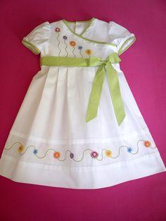 Embroidered White Pique Wrap Dress by GailDoane on Etsy Little Dresses, Little Girl Dresses, Vintage Girls Dresses, Toddler Dress, Baby Dress, Baby Frocks Designs, Girl Dress Patterns, Skirt Patterns, Coat Patterns