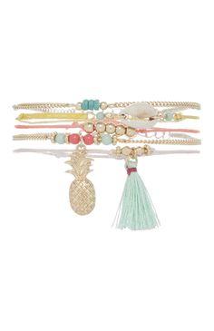 5 bracelets d'amitié tropicaux colorés