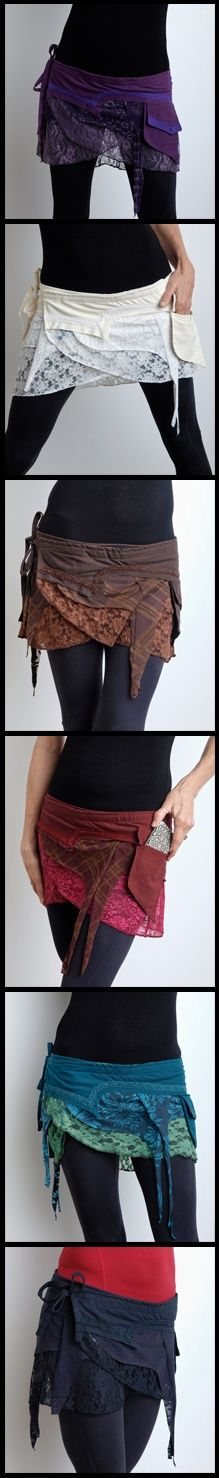 overskirt hip bag - start with diy skirt, use complimentary colors/patterns/materials to add layers with pockets. Great for upcycling thrift store materials.