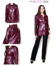 Leather Jacket 90s maroon jacket Sexy leather Jacket Short Leather Coat Jacket Vintage Clothing Size L/40 by SixVintageChicks on Etsy