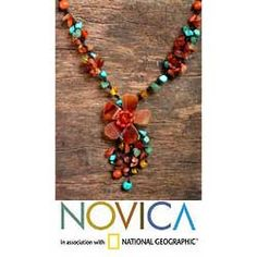 @Overstock - This lavish necklace by Nareerat features a summery floral motif. The necklace features beautiful agate and carnelian gemstones.http://www.overstock.com/Worldstock-Fair-Trade/Agate-and-Carnelian-Summer-Flower-Necklace-Thailand/5074090/product.html?CID=214117 $31.94
