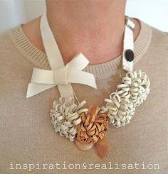 DIY Wire Necklace : DIY leather corsage necklace  :  DIY Jewelry DIY Necklace