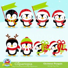 "Christmas Penguin Clipart / Penguin digital clipart by ClipArtopia. More adorable penguins $5. Gets 30 penguin images 12"" tall and 4 pages of decorative prints."