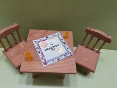Dollhouse Miniature Wood Table & Chairs Board Game Monopoly FAIRY GARDEN