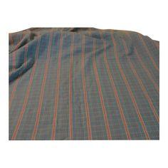 Turquoise and Orange Stripe and Plaid Fabric - L2