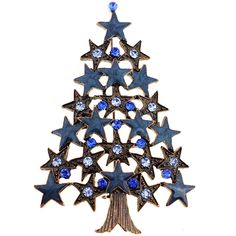 Engage your Christmas energy with this crystal star tree pin. This brooch features 30 cubic zirconias against a rustic base metal frame. Metal: Base metal Style: Brooch Gemstone colors: Clear, green,