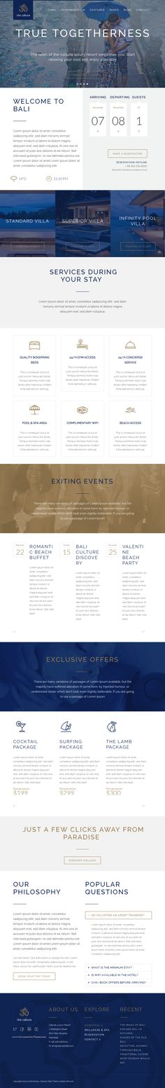 Hotel Calluna is a modern #hotel, resort, motel & apartment WordPress #theme with included booking & reservation form. Custom Post Types allow you to easily add rooms, events & offers to your hotel #website.