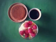 Coffee, waffle, ananas, banana, raspberry