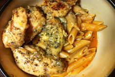 Garlic Pesto Chicken with Tomato Cream Penne | Eat and Exercise