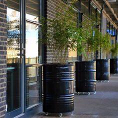Industrial Planters, made out of Oilbarrels. Terrace Garden, Garden Planters, Outdoor Spaces, Outdoor Living, Landscape Design, Garden Design, Oil Barrel, Barrel Furniture, Garden Inspiration