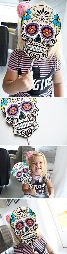 Free printable skull mask for Halloween. Fun DIY you can do with your kids and use either as a mask or as party booth props.  Check out more cool DIY's on my blog http://reidunbeate.com.  http://www.reidunbeate.com/2015/10/02/diy-lag-din-egen-halloweenmaske/