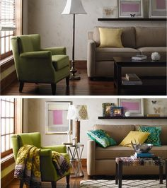 Living room makeover using warm textures and cool metallics. #BeforeandAfter