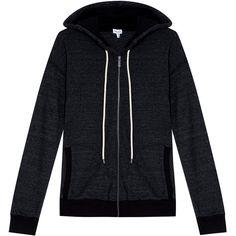 SPLENDID Tahoe Hoodie ($192) ❤ liked on Polyvore featuring tops, hoodies, jackets, outerwear, zip front hoodies, holiday tops, hooded pullover, black hoodie and black top