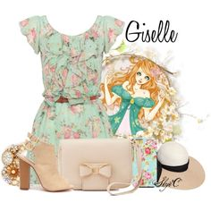 Giselle - Spring - Disney's Enchanted by rubytyra on Polyvore featuring Charlotte Russe, Miriam Haskell, Eugenia Kim, Spring, disney, disneybound, enchanted and Giselle