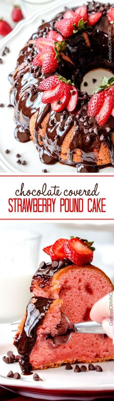 Rich, buttery, tender Strawberry Pound Cake swirled with fresh strawberries and smothered in smooth, silky Chocolate Ganache.