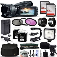 Canon VIXIA HF G20 HFG20 HD Camcorder Video Camera  128GB Memory  Travel Charger  3 Filters  2 Batteries  Opteka X-Grip  LED Light  Microphone  Monopod  Large Case  Dust Cleaning Kit  More