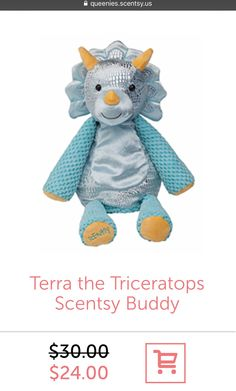 Terra the Triceratops is on SALE! This Scentsy Buddy comes with a Scent Pak of your choice,too ☺️ Great for a birthday gift or any-day gift for little ones... #QueeniesScentsy #Scentsy #ScentsyBuddy