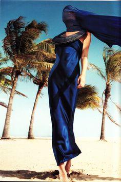 ♂ Feminine beauty fashion editorials lady in blue at beach