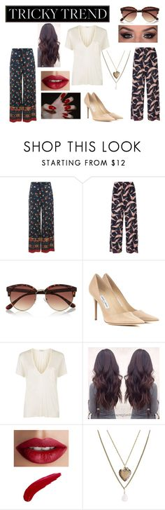 """""""Daytime Pajamas"""" by fashion-1993 ❤ liked on Polyvore featuring Etro, Valentino, River Island, Jimmy Choo, Yves Saint Laurent, TheBalm, Aéropostale and TrickyTrend"""