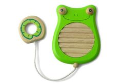 This cute scratchy frog has a washboard tummy and a lilypad to make a musical sound. - I'm Toy Scratchy Frog, Kids musical Toys