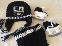 FREE SHIPPING - Baby Crochet Hockey Earflap Hat, Diaper Cover, and Skate Booties - Los Angeles Kings.