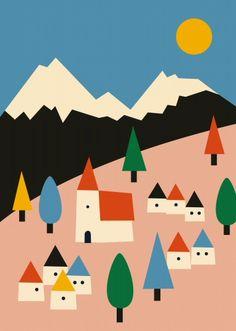 Bunte Landschafts-Illustration fürs Kinderzimmer!