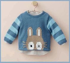 Baby Knitting Patterns Dress Naughty loops: Pullover 'My bunny' Baby Knitting Patterns, Knitting For Kids, Knitting Socks, Knitting Designs, Baby Patterns, Baby Outfits, Kids Outfits, Pull Bebe, Knitted Baby Clothes