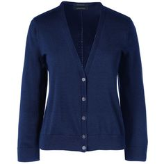Lands' End Women's Petite Supima 3/4 Sleeve Dress Cardigan Sweater ($34) via Polyvore featuring tops, cardigans, blue, three quarter sleeve cardigan, lands end cardigan, lightweight cardigan, 3/4 length sleeve tops and three quarter sleeve tops