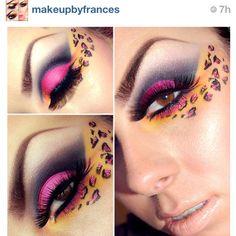 cheetah pink and yellow eyeshadow makeup