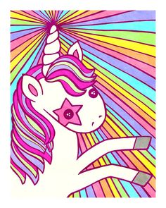Kawaii Rainbow Unicorn 5x7 Fine Art Print by MyZoetrope on Etsy, $10.00