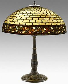 Duffner & Kimberly table lamp, autumn leaves pattern domical shade, bronze and leaded slag glass.