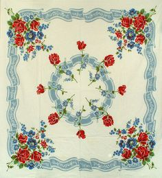 "Pretty Vintage 1950s Cotton TABLECLOTH RED ROSES w Cornflower BLUE 50"" x 45.5"""