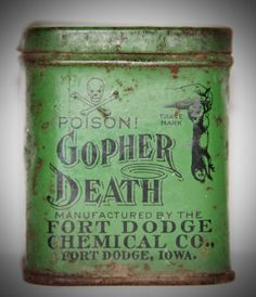 1925 Antique Gopher Death Poison Tin Skull and Crossbones Green Rust