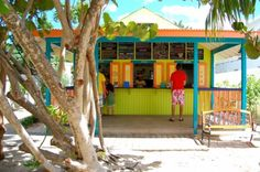 Colourful Blanchard's Beach Shack Anguilla. Best casual food on the island!