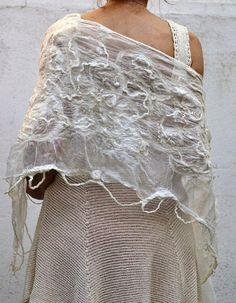 Lace  Felted bridal shawl/wedding wrap /silk and by FeltNatural, $90.00