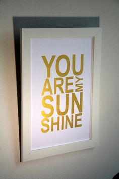 Nursery gold art quote print You are my Sunshine 8x10 by MiraDoson, $15.00