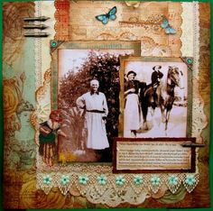 Great Great Grandmother Teressa ~ A rust, cream and teal color palette highlights the vintage photos beautifully on this lavishly embellished heritage page. A few color pops of blue and mint green brighten the look. Heritage Scrapbook Pages, Album Scrapbook, Vintage Scrapbook, Giant Paper Flowers, Blue Flowers, Quilling Designs, Graphic 45, Layout Inspiration, Bookbinding