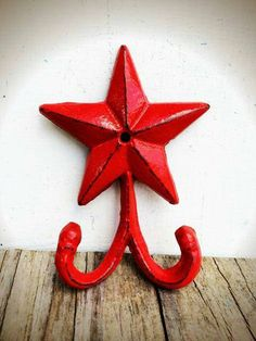 Bright Apple Red Star Double Wall Hook - Country Rustic Home Decor - Shabby Chic Western