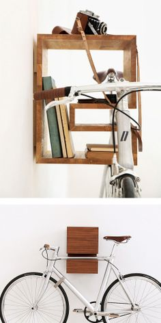 love this bike rack idea. Bike Storage Design, Bicycle Storage Rack, Bike Rack, Bike Hanger, Bike Shelf, Hallway Storage, Home Hacks, Apartment Design, Loft