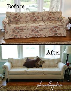 Reupholster with Dropcloth! Sofa - wow, removing that skirt also changes the whole line of the sofa!