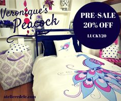 New edition of Veronique's Peacock: 100% sateen organic cotton, 300 thread count, with duvet. Get 20% OFF with code LUCKY20 Free shipping!