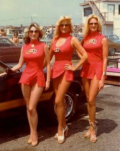 First Lady of Motorsports Linda Vaughn (center) and two other young ladies representing the Hurst Corporation at motor racing events in the 60's & 70's and even into the 80's.