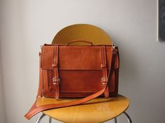Large Leather Satchel Old School Style by Goldenponies. $115.00