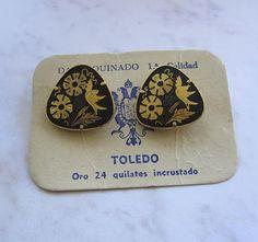 Vintage Damasquinado Damascene Toledo Cufflinks With Black and